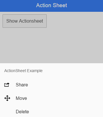 android action sheet