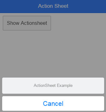 Action Sheet with cancel option