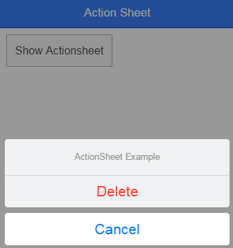 Action Sheet with Delete option