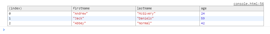 Example 3 Developer Tools Output