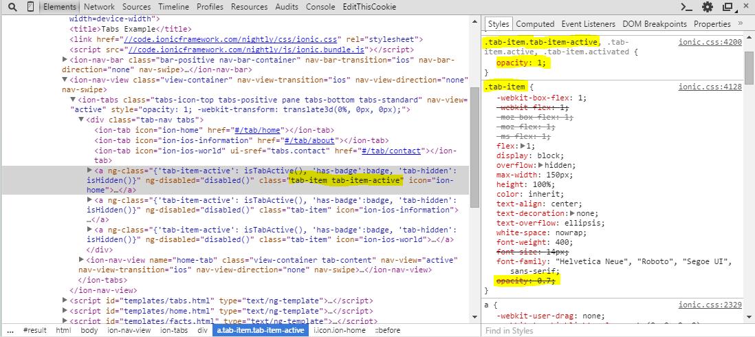 Developer Tools HTML Element Inspector